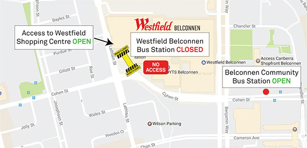 Map showing the closure of the Westfield Belconnen bus station
