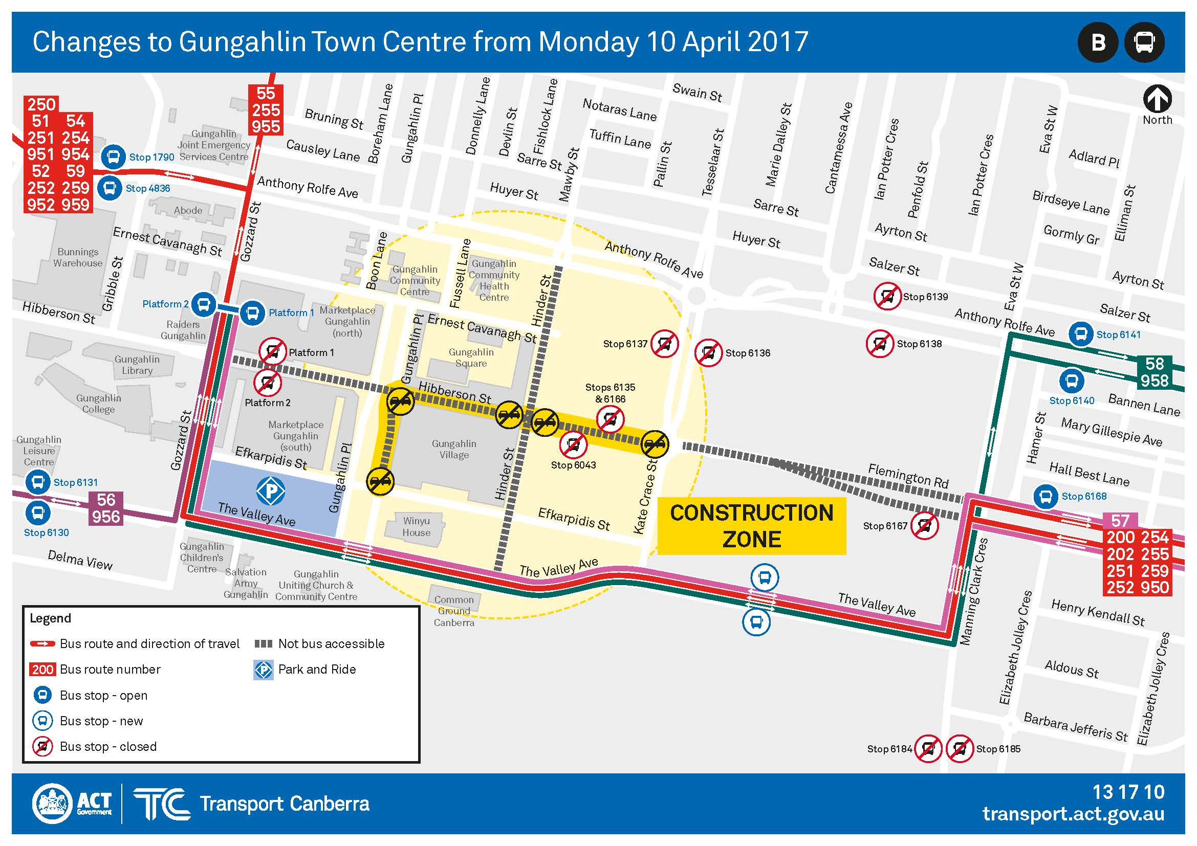 Map of bus diversions in Gungahlin Town Centre from 10 April 2017